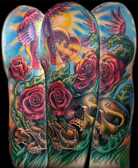28 Colored Full Sleeve Tattoos: Full Color New School Tattoo By Timothy Boor