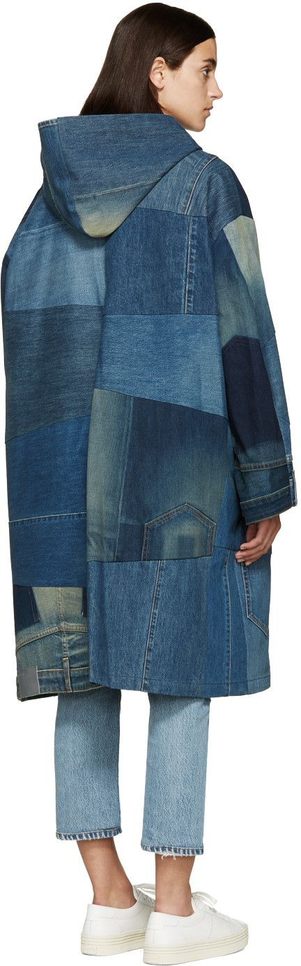 6397 - Blue Recycled Denim Patchwork Parka