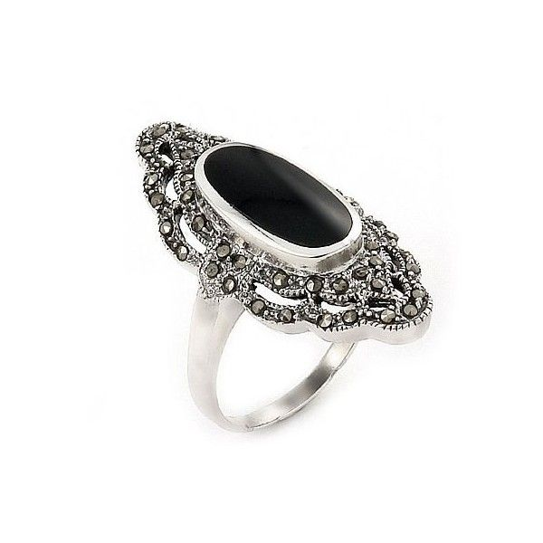 My mum bought me a ring nearly identical to this year's ago. It was one of my all time favourite gifts from her and I lost it, I'd love to find one just like it!   Willow's Vintage Inspired Oval Black Onyx & Marcasite Ring found on Polyvore featuring polyvore, women's fashion, jewelry, rings, accessories, anillos, jewels, sterling silver jewelry, black onyx ring and vintage looking jewelry
