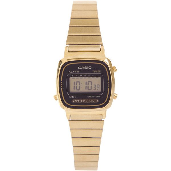 Casio Digital WR Time Stop Watch Gold Steel Band ($50) ❤ liked on Polyvore featuring jewelry, watches, accessories, gold, women, digital wrist watch, gold tone watches, gold wrist watch, pandora jewelry and digital watch