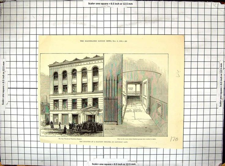 Antique Print of of Disaster Glasgow Star Theatre Varieties 1884