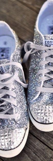 silver converse ~ cute for the bride needing flats! #silver #converse #sneakers