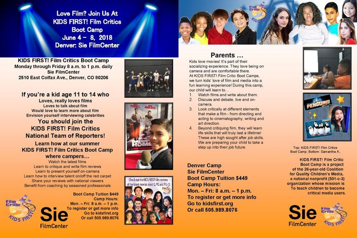 Have you dreamed about being an Entertainment Reporter?  Register for KIDS FIRST! Film Critics Boot Camps in NYC, LA, Miami, Seattle, Washington DC, Philadelphia, Old Bridge (NJ) and Denver!   June 4 - 8: Sie FilmCenter, 2510 E. Colfax Ave., Denver, CO 80206  For more information, visit http://www.kidsfirst.org/become-a-juror/2018.BootCamp.html