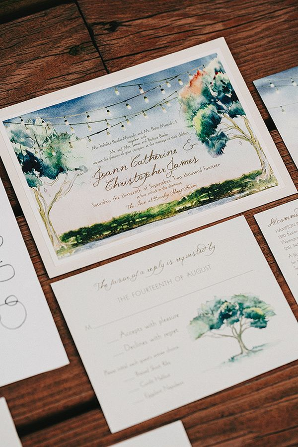illustrated wedding invitations - photo by Lev Kuperman http://ruffledblog.com/elegant-country-wedding-at-barley-sheaf-farm