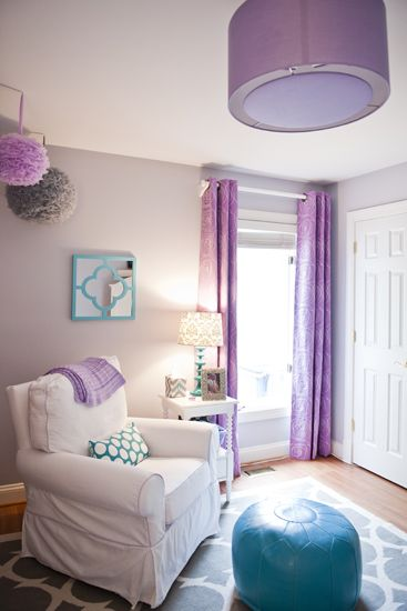 Purple and grey nursery with a hint of teal. I think this is the inspiration for Harpers nursery. :)