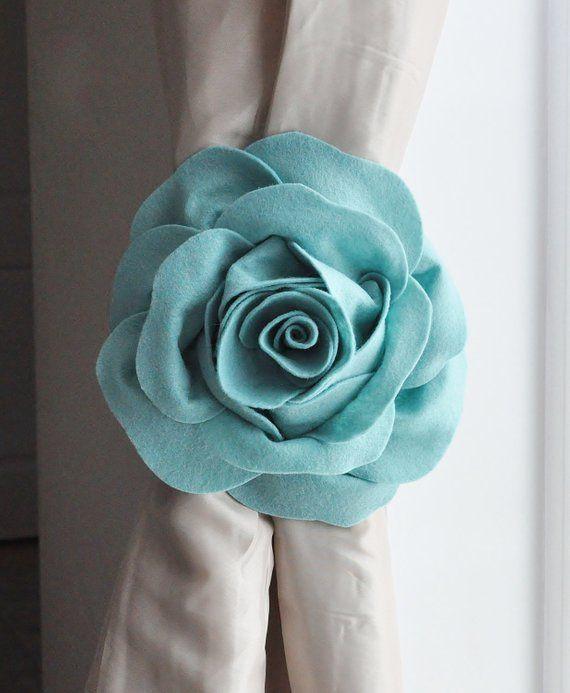 Dusty Blue Rose Rustic Farmhouse Curtain Tie Backs Shabby Chic
