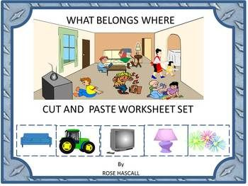 This classifying packet contains nine, two-part, cut and paste worksheets featuring common rooms/spaces. It works well for preschool, kindergarten, special education, autism, ESL and speech and language therapy. The spaces are common to students' everyday lives. The student will cut out and then paste objects that would be found in a room/place.