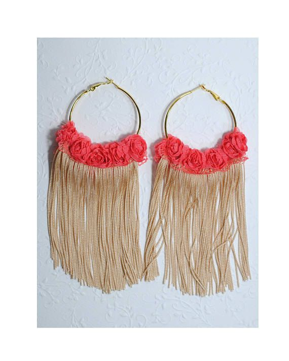 Gold fringe earrings Pink rose hoops Flower lace earrings Long
