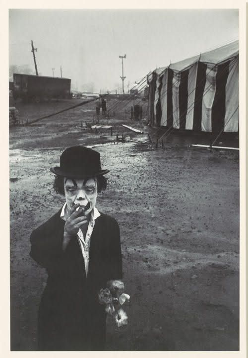 Photo by Bruce Davidson, Clown and Circus Tent, 1958