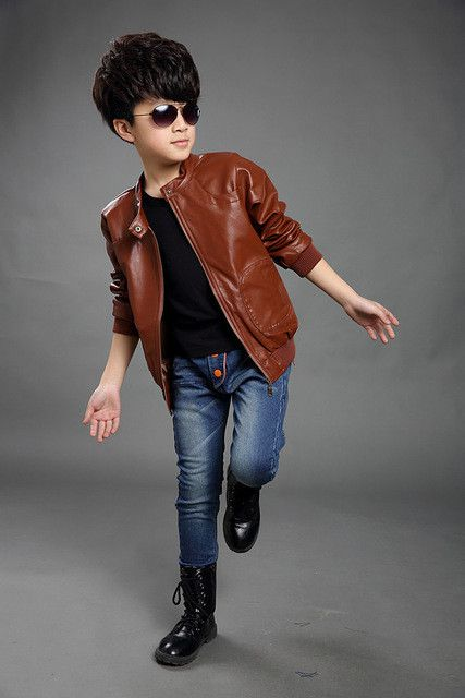 Boys Leather Jacket with Long Sleeves, and Turn-down Collar