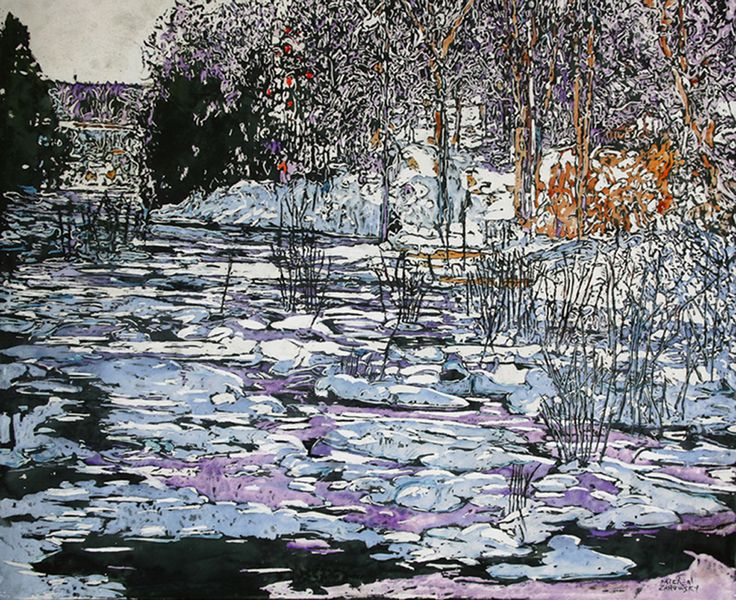 """late day sun drifting past silence of windswept pathways along icecovered moments 30"""" x 38.5"""" beaver pond 12 mile bay rd georgian bay   micheal zarowsky / mixed media (watercolour / acrylic painted directly on gessoed birch panel) (private collection)"""