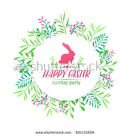 Banner design template with floral decoration for spring Easter. The round frame with the decor of plants, herb, leaves, twigs. Invitation for easter holiday with logo and rabbit, flower element.