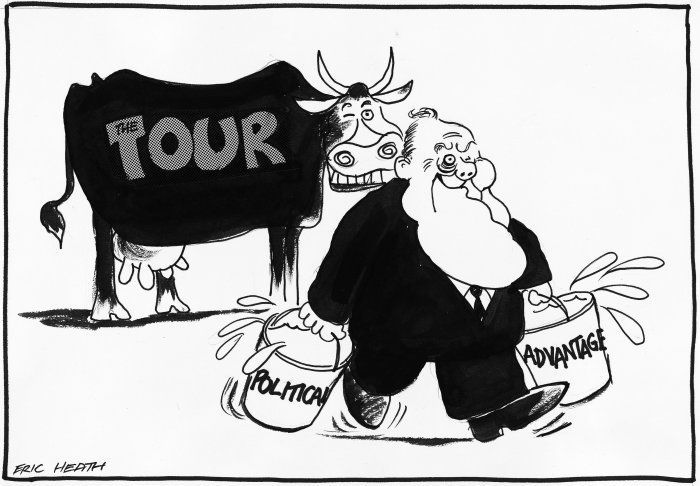 This cartoon depicts how Muldoon may have used the tour to gain political advantage by professing his beliefs in the separation of sports and politics.