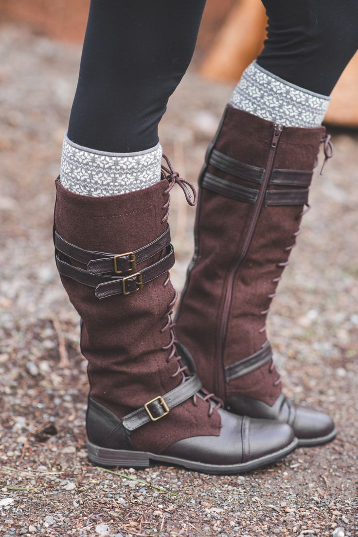 Running Into Town Tall Lace Up Boots-Brown - NanaMacs.com - 2