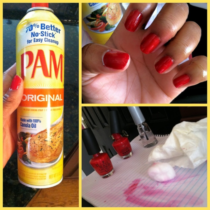 OMG! After painting your nails, spray w/ Pam or any no-stick cooking spray! Rinse with water and lightly dab them with a paper towel. Dries nails INSTANTLY! No joke!!! TRY IT NOWWW! (This is my picture)