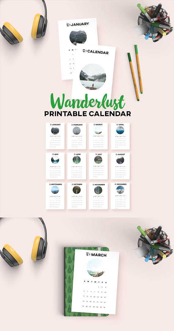 Get your dose of the great outdoors with this wanderlust printable calendar! Each month features a new picture of something amazing in nature. Let each month inspire your hiking adventures, and brighten up your desc or wall.