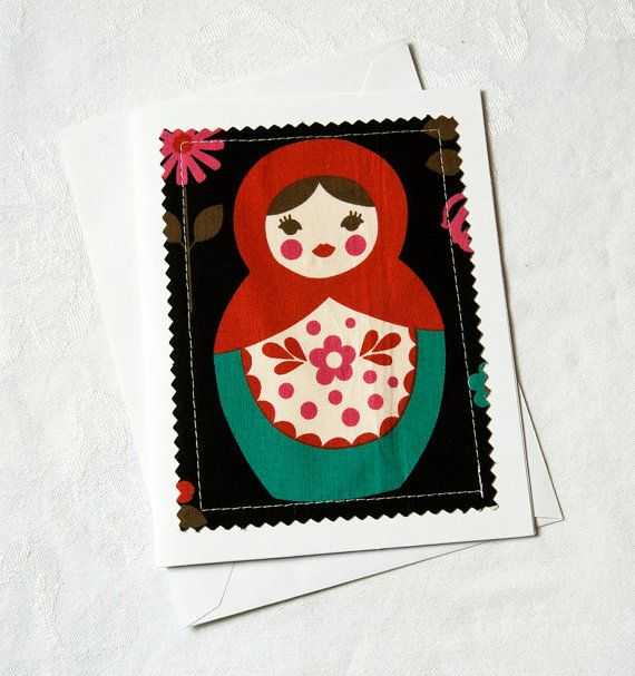 Russian Nesting Doll Greeting Card Nesting Doll Blank by Weezi