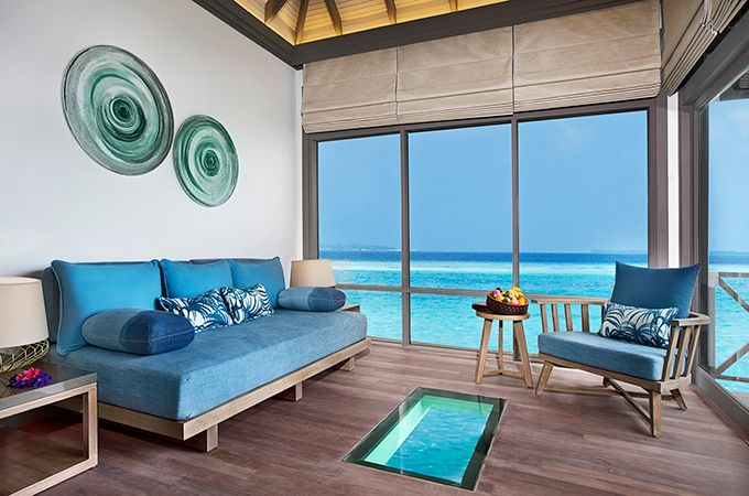 JA Manafaru's Water Villas feature glass panelled floors