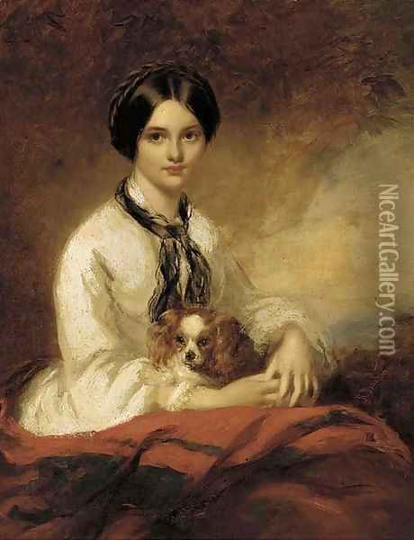 Portrait of Lady Fletcher, nee Agnes Wilson, seated half-length, in a white blouse, with a spaniel in her arms Oil Painting - Richard Buckner