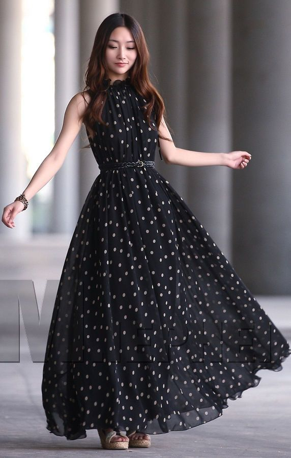 Womens vintage chiffon Polka Dot sleeveless Evening Ball Gown Long Maxi Dress  #YSF #Ballgown #Party