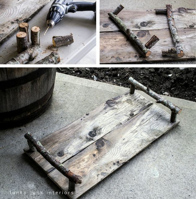 DIY rustic tray - Can be made from 1 piece of pallet woodProjects, Rustic Trays, Branches Handles, Pallets Wood, Stewart Crafts, Servings Trays, Funky Junk, Martha Stewart, Diy Rustic