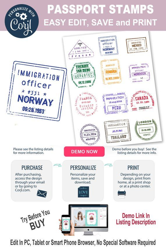 Editable International Passport Stamps Personalize Printable