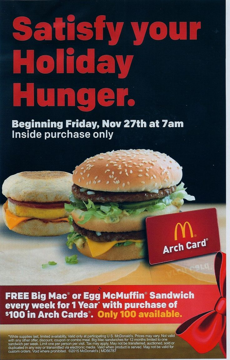 Buy $100 in McDonalds Gift Cards .YMMV  Get free sandwich WEEKLY for 12 months  See Photo http://www.lavahotdeals.com/us/cheap/buy-100-mcdonalds-gift-cards-ymmv-free-sandwich/51975