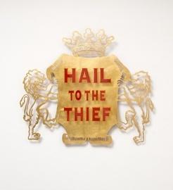 Brett Murray  Hail to the Thief, 2010  Metal, gold leaf, resin, aluminium  104 x 119 x 5cm  Available