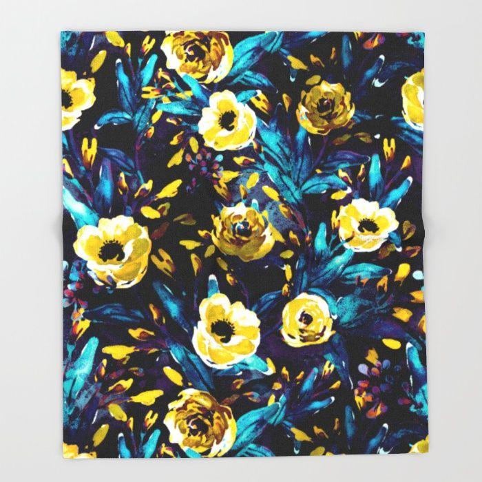 Golden Flowers Throw Blanket #dark #floral #blue #yellow #home #homedecor #art #society6