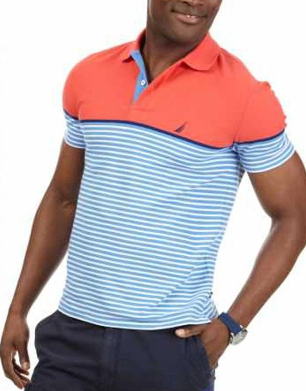 Nautica Striped Deck Polo Shirt