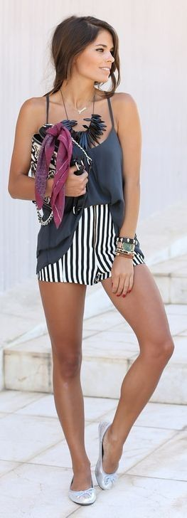 #summer #shorts #trend #outfitideas | Black And White High Rise Vertical Stripe Shorts
