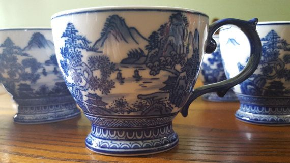 Vintage blue and white chinese coffee cup set