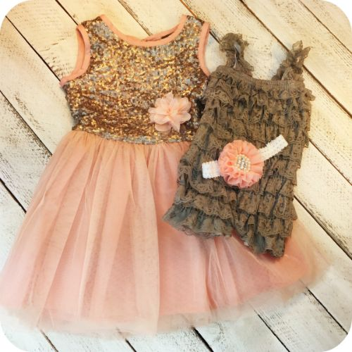 Beautiful sequin light pink/peach dress comes with coordinating newborn infant…
