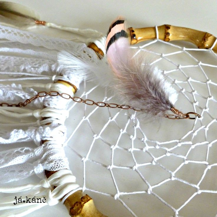 Dreamcatcher white handmade lace silk with wooden beads romantic natural nursery bedroom twins girl boy tribal crib wall decor by jakanestudio on Etsy