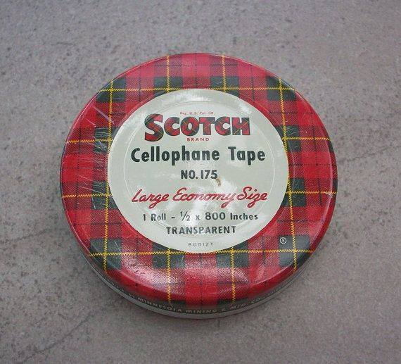 Vintage Scotch Cellophane Tape Tin by nenafayesattic on Etsy