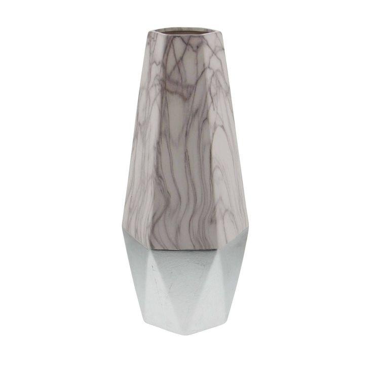 Studio 350 Ceramic White Silver Vase 7 inches wide, 18 inches high (Stone)