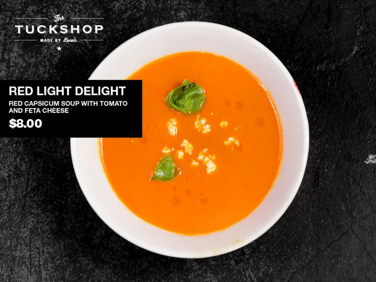 Red Light Delight  Red Capsicum Soup with Tomato & Feta Cheese