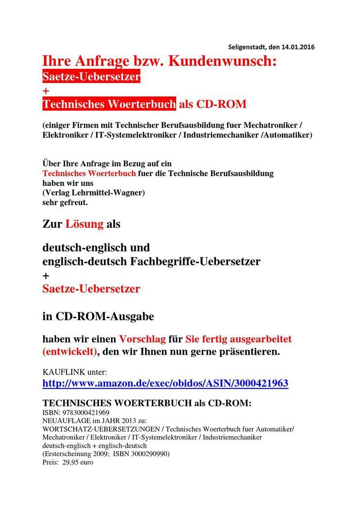 Sprachensoftware-Material Mechatroniker-Ausbildung: deutsch-technisches englisch Texte Uebersetzer