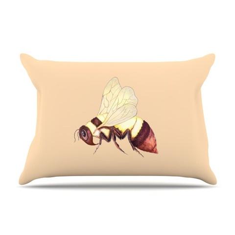 Catherine Holcombe Bee Happy Beige Pillow Case | KESS InHouse