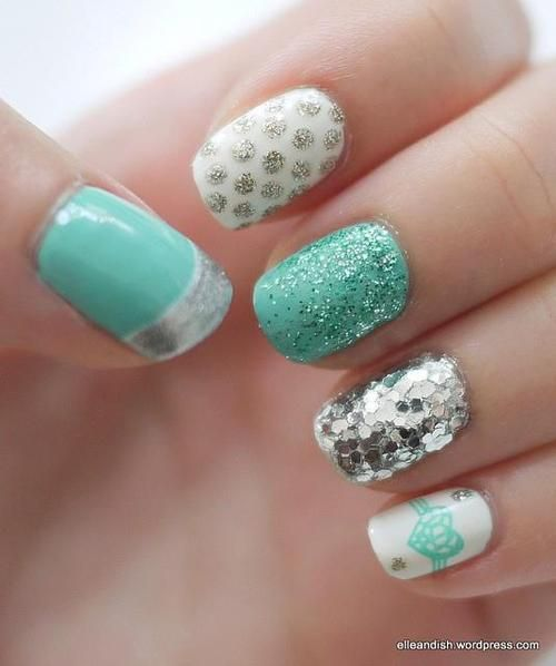 Mint & silver nail art design