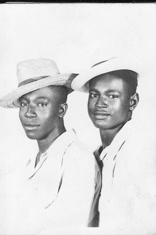 Beautiful vintage photo of two young African American black men.