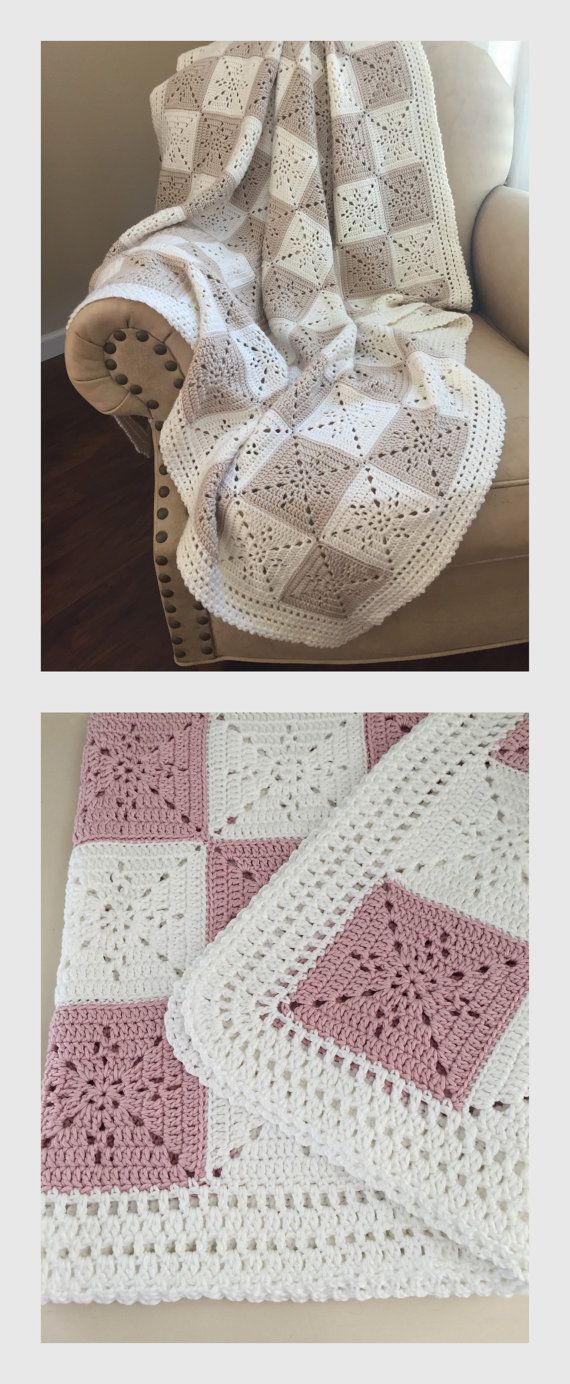 Beautiful Crochet Baby Blanket or Throw Pattern by Deborah O'Leary Patterns | We love these delicate granny squares, and the eyelet detailing is so cute! #CuteCrochetPatterns