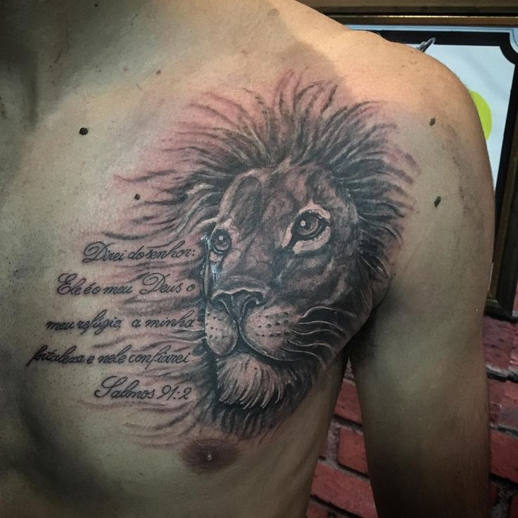 15 Magnificent Leo Tribal Tattoos: Lion Chest Tattoo With Quote