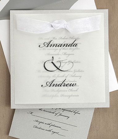 This Elegant Invitation Features Your Names In The Type Style Shown On A Translucent Vellum Overlay Vendors American Wedding