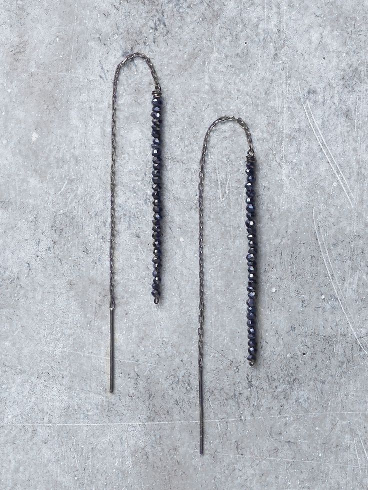 """Sparkling Black Spinel gems form a stacked bar linked to Antiqued (blackened) Sterling Silver chains in these swinging, sexy threader earrings. Earrings measure approx 4.5"""" long in total (gems measure"""