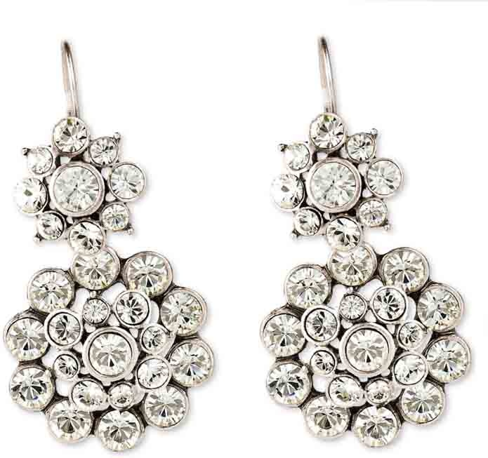 Flower Swarovski Crystal french wires (E2212) worn with our dramatic Floral Swarovski Crystal earring charms (E2209) (these come with standard french wires so can be worn alone)