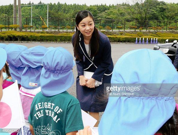 Princess Kako of Akishino talks to kindergarten children on arrival prior to the All Japan High School Equastrian Championships Opening Ceremony on July 25, 2015 in Gotemba, Shizuoka, Japan.