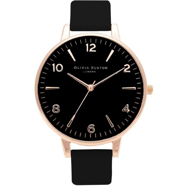 Olivia Burton Women's Modern Vintage Leather Strap Watch , Black/Gold ($125) ❤ liked on Polyvore featuring jewelry, watches, gold jewellery, gold wrist watch, black gold jewelry, oversized watches and black wrist watch