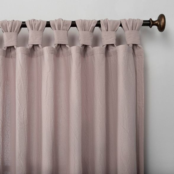 63 X52 Washed Cotton Twisted Tab Light Filtering Curtain Panel