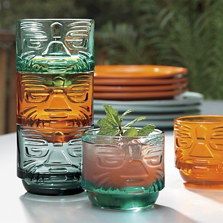 Just bought a slew of these! LOVE! Tiki Stacking Glasses. In aqua, amber and smoke.